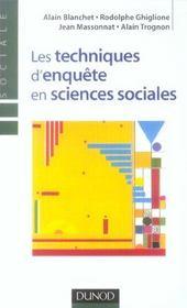 Les techniques d'enquête en sciences sociales - Intérieur - Format classique