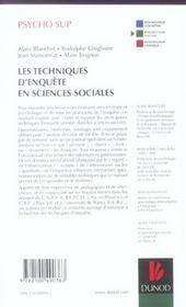 Les techniques d'enquête en sciences sociales - 4ème de couverture - Format classique