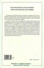 Les Visages De L'Engagement Dans L'Oeuvre De Max Weber ; La Nation, La Culture Et La Science - 4ème de couverture - Format classique