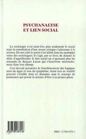 Psychanalyse Et Lien Social - 4ème de couverture - Format classique