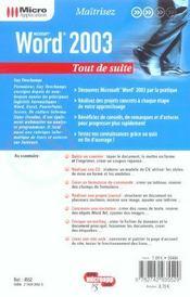 Word 2003 - 4ème de couverture - Format classique