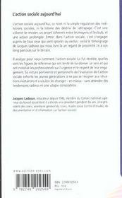 L'action sociale aujourd'hui petite histoire de l'action sociale - 4ème de couverture - Format classique