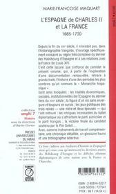 L Espagne De Charles 2 Et La France 1665-1700 - 4ème de couverture - Format classique