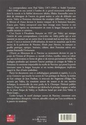 Paul valery, andre fontainas correspondance, 1893-1945 - 4ème de couverture - Format classique