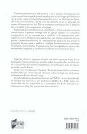 La formation des ingenieurs en perspective modeles de reference et reseaux de mediation, xviiie-xxe - 4ème de couverture - Format classique