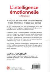 L'intelligence émotionnelle ; intégrale - 4ème de couverture - Format classique