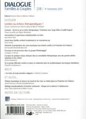 Dialogue N.218 ; limites ou échecs thérapeutiques ? - 4ème de couverture - Format classique