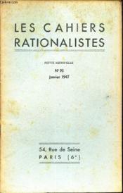 Les Cahiers Rationalistes - N°93 - Janvier 1947 / Les Origines Du Christianisme. - Couverture - Format classique