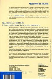 Regards sur l'édition t.1 ; les petits éditeurs, situations et perspectives - 4ème de couverture - Format classique