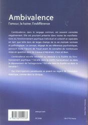 Ambivalence ; l'amour, la haine, l'indifférence - 4ème de couverture - Format classique