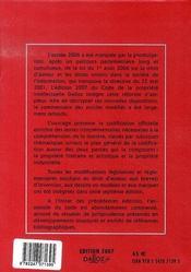 Code De La Propriete Intellectuelle (Edition 2007) - 4ème de couverture - Format classique