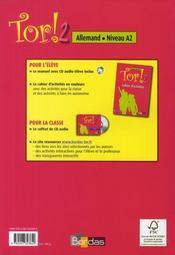 TOR ; tor ! 2 ; allemand ; niveau A2 manuel + cd audio (édition 2008) - 4ème de couverture - Format classique