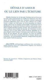 Details d'amour ou le lien par l'ecriture - 4ème de couverture - Format classique