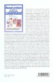Manuel Pratique Du Jeu De Mlle Lenormand - 4ème de couverture - Format classique