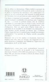 L'eglise et la contraception - 4ème de couverture - Format classique