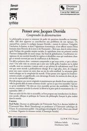Penser avec Derrida - 4ème de couverture - Format classique