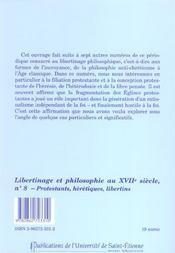 Libertinage Et Philosophie N8 - 4ème de couverture - Format classique