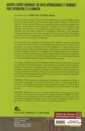 Analyser l'activité enseignante ; des outils méthodologiques et théorique pour l'intervention et la formation - 4ème de couverture - Format classique