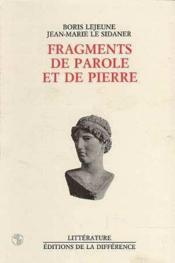 Fragments de parole et de pierre - Couverture - Format classique
