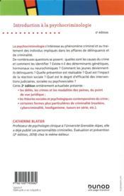 Introduction à la psychocriminologie (2e édition) - 4ème de couverture - Format classique