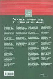 Violences involontaires et responsabilite penale - 1ere ed. - 4ème de couverture - Format classique