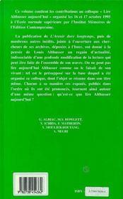 Lire Althusser Aujourd'Hui - 4ème de couverture - Format classique