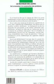 Au Bonheur Des Maths ; De La Resolution A La Construction Des Problemes - 4ème de couverture - Format classique