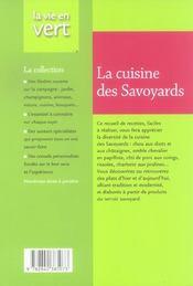 La cuisine des savoyards - 4ème de couverture - Format classique