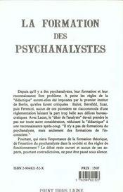 La formation des psychanalystes actes de la fondation europeenne pour la psychanalyse, paris, journe - 4ème de couverture - Format classique