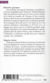 Histoires grecques - 4ème de couverture - Format classique