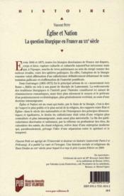 Église et nation ; la question liturgique en France au XIXe siècle - 4ème de couverture - Format classique