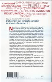 Dictionnaire des concepts nomades en sciences humaines t.2 - 4ème de couverture - Format classique