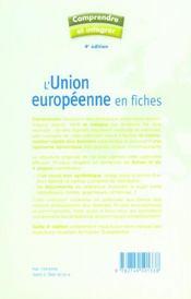L'Union européenne en fiches (4e édition) - 4ème de couverture - Format classique