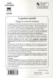 La gestion mentale ; voyage au coeur des émotions - 4ème de couverture - Format classique