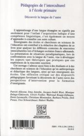 Pédagogies de l'interculturel à l'école primaire ; découvrir la langue de l'autre - 4ème de couverture - Format classique