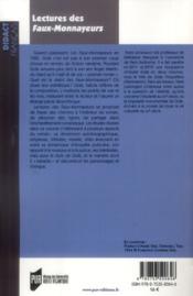 Lectures des Faux-monnayeurs - 4ème de couverture - Format classique