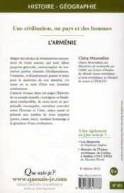 L'Arménie (5e édition) - 4ème de couverture - Format classique