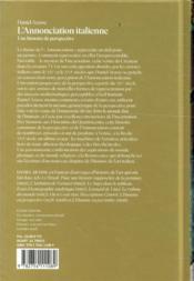 L'annonciation italienne - 4ème de couverture - Format classique
