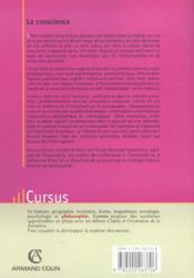 La conscience ; approches croiséees ; des classiques aux sciences cognitives - 4ème de couverture - Format classique