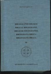 Bibliographie biblique tome iii 1930-1983 - Couverture - Format classique