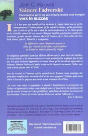 Vaincre L Adversite - 4ème de couverture - Format classique
