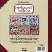 Monochromes variés au point de croix ; plus de 400 motifs - 4ème de couverture - Format classique
