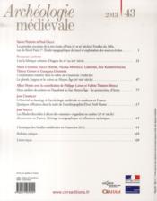 Archeologie Medievale N.43 - 4ème de couverture - Format classique