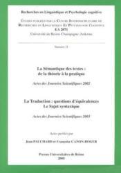 La semantique des textes. de la theorie a la pratique. la traduction : questions d'equivalences. le - Couverture - Format classique