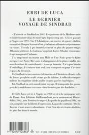 Le dernier voyage de Sindbad - 4ème de couverture - Format classique