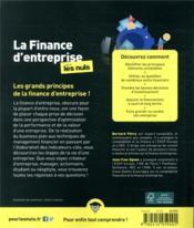 La finance d'entreprise pour les nuls - 4ème de couverture - Format classique