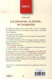 Droit Civil ; Les Personnes, La Famille, Les Incapacites (6e Edition) - 4ème de couverture - Format classique