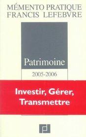 Patrimoine ; investir, gerer, transmettre - Intérieur - Format classique
