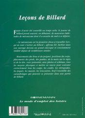 Lecons De Billard - 4ème de couverture - Format classique