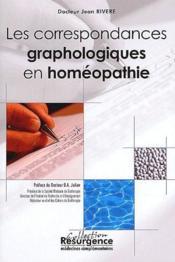 Les correspondances graphologiques en homéopathie - Couverture - Format classique